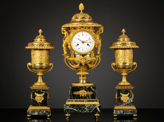Set of two ornamental Vases and a Mantel Clock,  Pierre-Philippe Thomire, ca. 1810