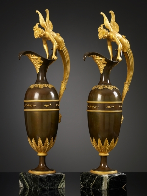 A pair of large Empire Ewers attributed to Claude Galle,  Paris, ca. 1810