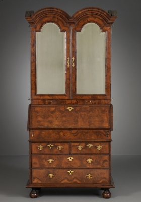An English Double Domed Bureau Bookcase