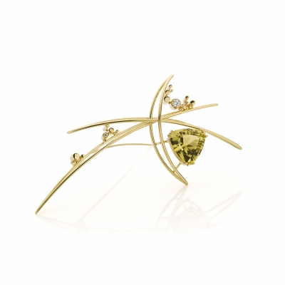 Brooch with citrine and diamonds - Sabine Eekels