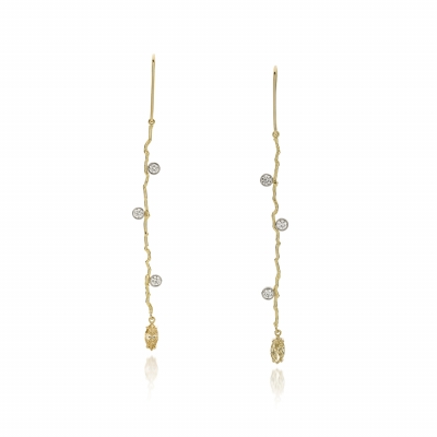 Earrings with champagne colored diamonds