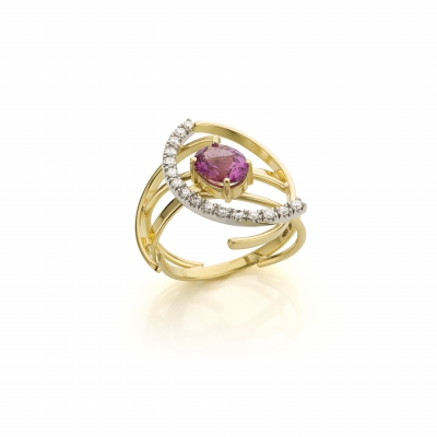 Yellow and white gold ring with pink corundum and diamond - Sabine Eekels