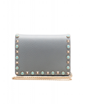 Valentino Garavani Blue Leather Rockstud Rolling Crossbody Bag