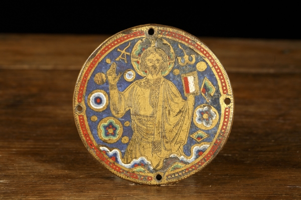 Enamelled medieval roundel with Christus Salvator