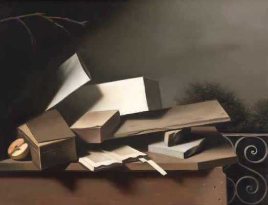 Stil life with book and apple - Raoul Hynckes