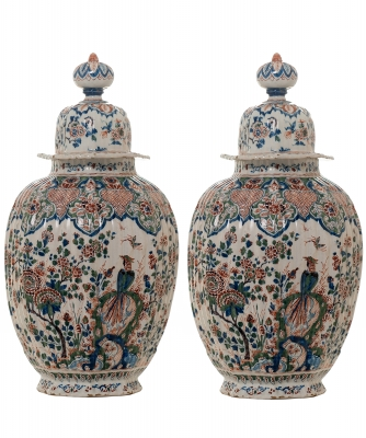 A Pair Dutch Delft Cashmere Vases with Lid
