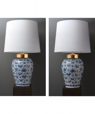 A Near Pair of Dutch Delft Vases with 'Mille Fleurs' ( Lamps )