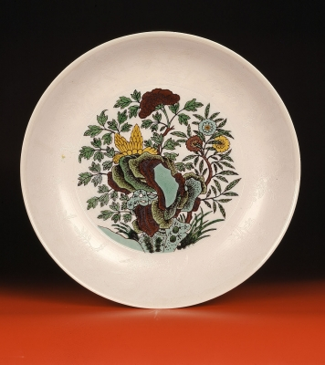Large Chinese porcelain dish with sancai decoration Made for the Chuxiu Palace, Guangxu porcelain and ceramics