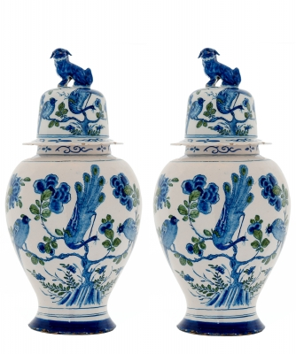 A Pair of Rare Dutch Delft Green and Blue Chinoiserie Baluster vases and Covers