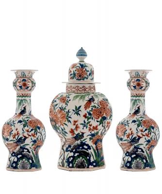 A  Polychrome Three-Piece Garniture in Dutch Delftware