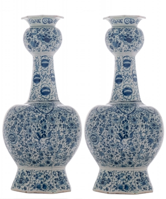 Pair of Blue - White Double Gourded 18th Century Vases in Dutch Delftware