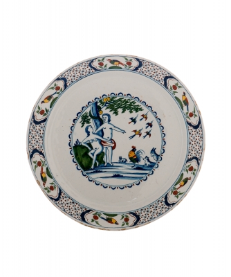 A Polychrome Dish in Dutch Delftware