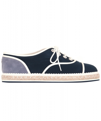 Chanel Navy Blue/Grey Cotton Lace-Up Oxfords 16C - Chanel