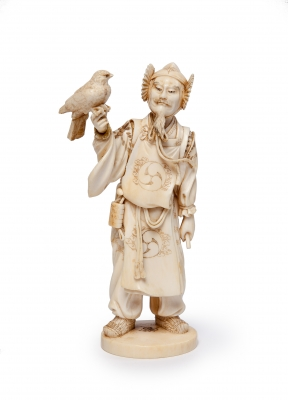 Japanese ivory statue of a falconer