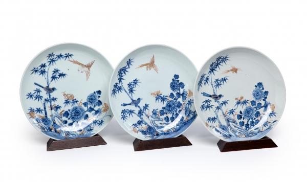 Three blue and white Chinese plates