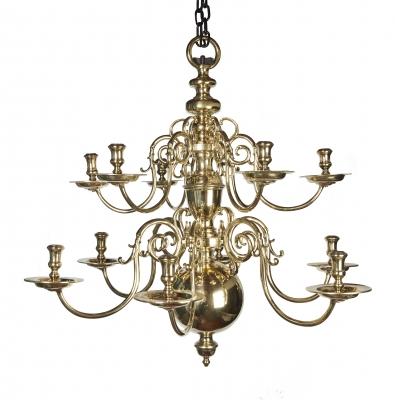 A Dutch bronze 12-light chandelier
