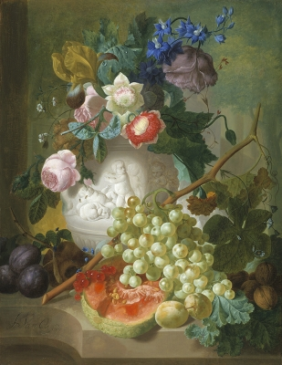 Stll life with flowers and fruit