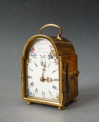 An extremely rare, early Austrian carriage clock - Officer's clock with quarter striking by Ignatz Jahnn, Tyrnau, circa 1775.