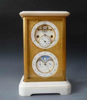 Very attractive mantel clock with four glasses, Brocots perpetual calendar, signed J. Silvani, Brighton, circa 1860