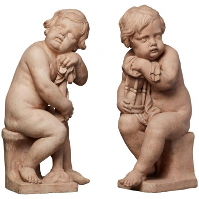 A pair of Terracotta putties sculptures signed by Mathieu de Tombay, circa 1837