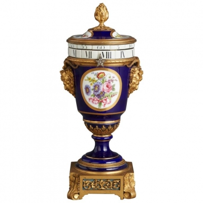A charming probably Sevres annular dial striking urn clock, circa 1880