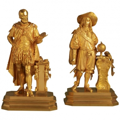 A lovely pair of Charles X gilt bronzes, circa 1835