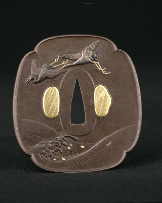 Japanese tsuba with crane design, Edo Period