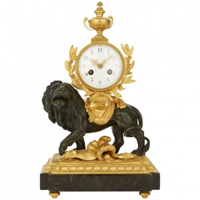 An Equisite French Lion Mantel Clock, circa 1880