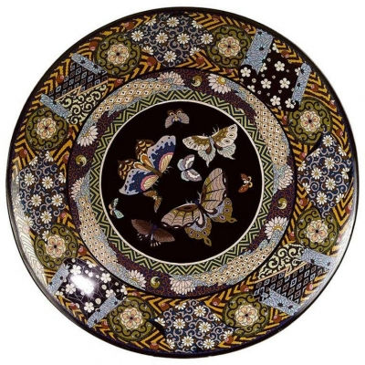 A large probably Japanese Cloisonné Charger from Meiji, circa 1900