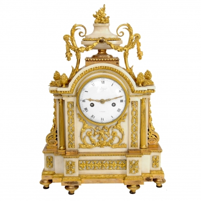 A French Louis XVI ormolu mounted marble mantel clock, circa 1780