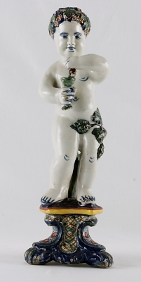 A Bacchant Figure in Polychrome Dutch Delftware