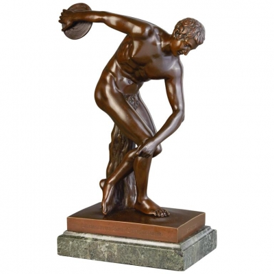 A high quality bronze of athlete Discus-thrower (discobolus), circa 1900