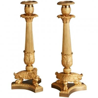 A nice pair of Empire candlesticks, circa 1820