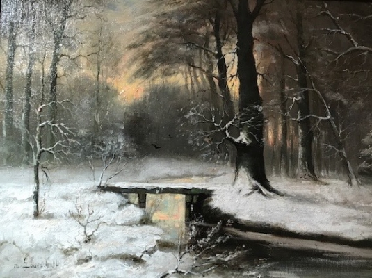 Winter-forest landscape with small bridge
