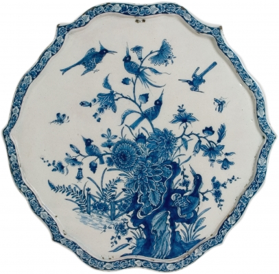 Blue and White Shaped Oval Plaque in Dutch Delftware