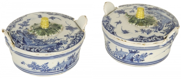 A Pair of Terrine's in Blue and White Dutch Delftware - J. Pennis