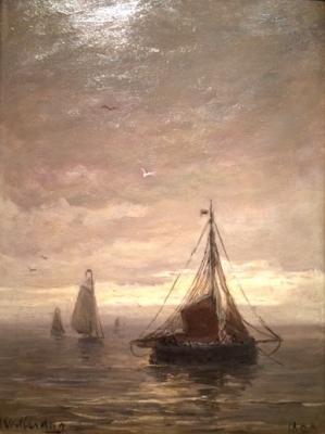 Fishing Vessels ('Bomschuiten') at a calm sea