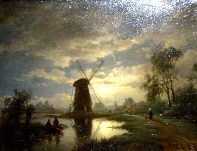 Waterlandscape by falling evening, a mill and fisherman on the left