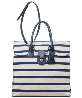 Ralph Lauren Bicolor Striped Nautical Canvas Ricky Tote