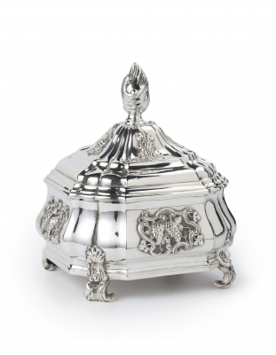 A Dutch silver tobacco-jar and cover