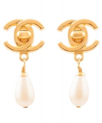 Chanel CC Turnlock Pearl Drop Earrings - Chanel