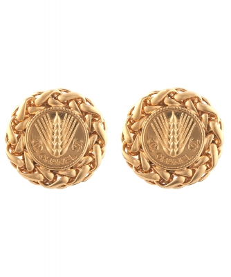 Chanel Wheat Disc Earrings