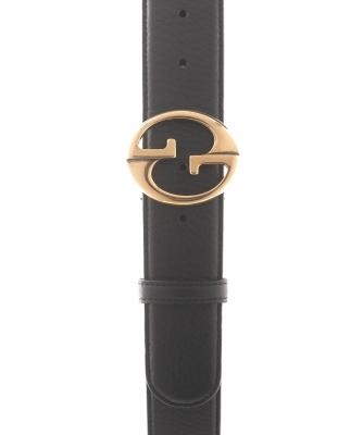 Gucci Black Leather Belt Goldtone G Buckle - Gucci