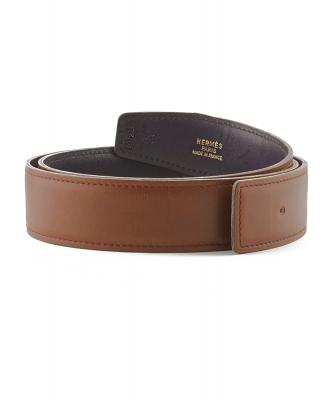 Hermès 32mm Reversible Brown / Navy Blue Leather Belt Strap - Hermès