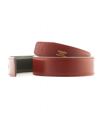 Hermès 32mm Reversible Burgundy / Green Leather Belt