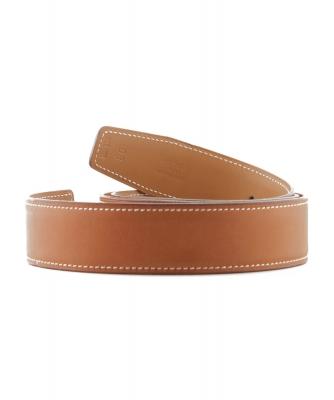 Hermès 32mm Reversible Cognac / Light Brown Leather Belt Strap - Hermès