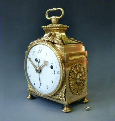 A Louis XVI pendule d'officier, a Swiss travelling clock made around 1780-90.