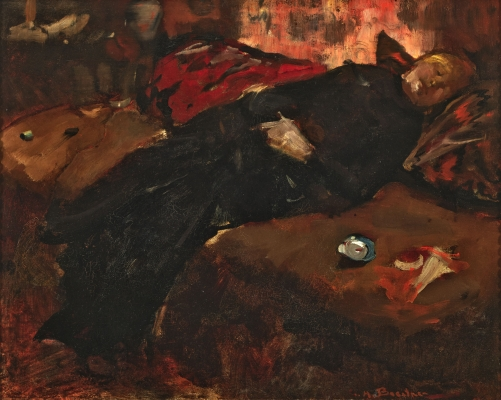 Girl resting on a sofa - George Hendrik Breitner