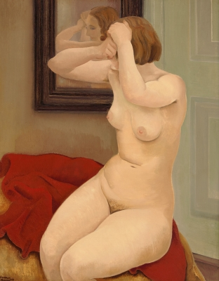 Nude sitting in front of a mirror - Harmen Meurs