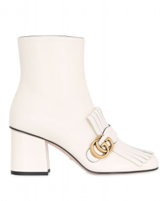 Gucci White Marmont Fringed Leather Ankle Boots